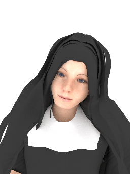 3d horror model made in blender. nun