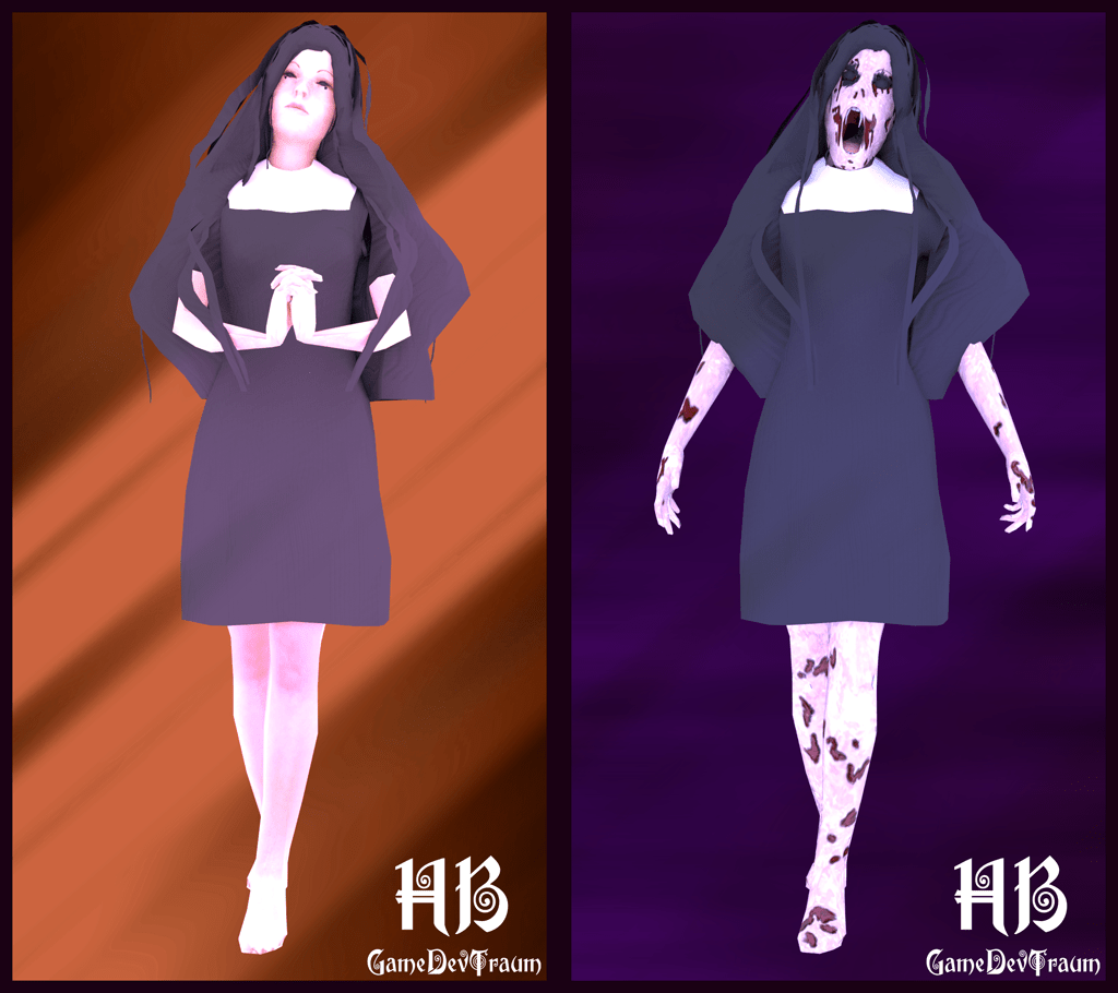 3d models made in blender, on the left side a nun and on the right side the same nun with dark texture.