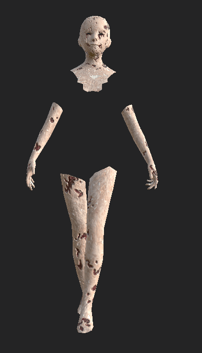 textured in substance painter of a 3d model made with human make and blender, you can see parts of a body and a texture of wounded skin, horror project in unity